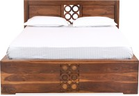@home by Nilkamal Annulus Solid Wood Queen Bed With Storage(Finish Color -  Brown)