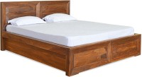 @home by Nilkamal Cubus Solid Wood King Bed With Storage(Finish Color -  Walnut)