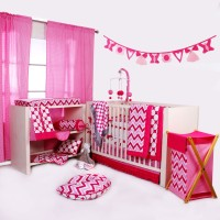 Bacati Cotton Bedding Set(Pink)