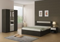 Spacewood Engineered Wood Bed + Side Table + Wardrobe(Finish Color - Shadow Oak)