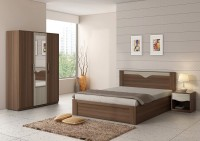 Spacewood Engineered Wood Bed + Side Table + Wardrobe(Finish Color - MOL-ACACIA DARK WOODPORE)