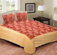 Rustic India 200 TC Cotton Double King Paisley Bedsheet(Gold, Orange)