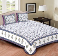 Rustic India 200 TC Cotton Double King Floral Bedsheet(Pack of 1, Blue)