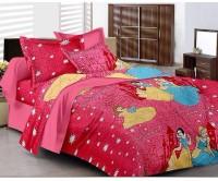 Kunal 200 TC Cotton Single Printed Bedsheet(Pack of 1, Pink)