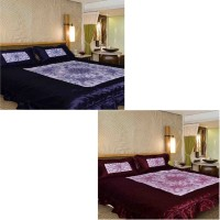 Chelsi 120 TC Satin Double Abstract Bedsheet(Pack of 2, Multicolor)