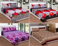 iTrend India Polycotton Double Floral Bedsheet(Pack of 4, Multicolor)
