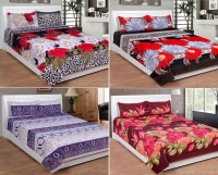 iTrend India Polycotton Double 3D Printed Bedsheet(Pack of 4, Multicolor)