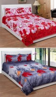 iTrend India Polycotton Double Printed Bedsheet(Pack of 2, Multicolor)