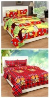 The Divine Polyester King Bed Cover(Multicolor, 2 Double Bedsheet With 4 Pillow Covers)