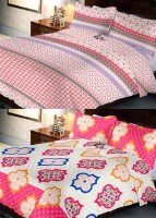 Indien Casa 108 TC Cotton Double Abstract Bedsheet(Pack of 2, Multicolor)