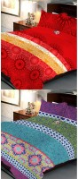 Uber Urban 108 TC Cotton Double Abstract Bedsheet(Pack of 2, Multicolor)