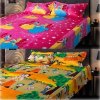 eCraftIndia Cotton, Satin Floral Queen sized Double Bedsheet(2 Double Bedsheet + 4 Pillow Covers, Multicolor)
