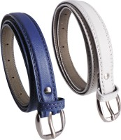 Elligator Women Casual, Formal, Party Blue, White Artificial Leather Belt