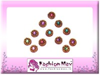 Fashion Max Full Moon with Multicolor Stone Forehead Red Bindis(Fancy Design)