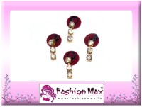 Fashion Max Full Moon with 3 Stone Crystal Droping Forehead Maroon Bindis(Fancy Design)
