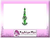 Fashion Max Highly Decorative Fashionable Long Tikka Bindi Forehead Green Bindis(Fancy Design)