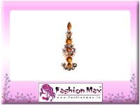 Fashion Max Highly Decorative Long Tikka Bindi Forehead Yellow Bindis(Fancy Design)