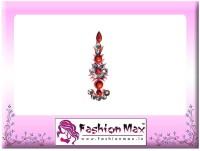 Fashion Max Highly Decorative Long Tikka Bindi Forehead Red Bindis(Fancy Design)