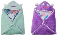 Utc Garments Cartoon Single Hooded Baby Blanket(Microfiber, Purple, Red, Green, White, Pink)
