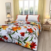 eCraftIndia Floral Single Dohar(Poly Cotton, Orange, Green, Yellow)