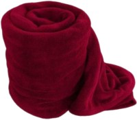 Saksham Plain Single Coral Blanket(Microfiber, Maroon)