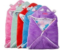 Utc Garments Cartoon Single Hooded Baby Blanket(Microfiber, Purple, Blue, Red, Pink, White)