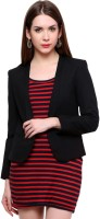 Pannkh Solid Single Breasted Casual Womens Blazer(Black)