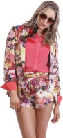 Paint It Red Floral Print Single Breasted Party Womens Blazer(Multicolor)