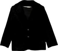 Beebay Solid Single Breasted Festive Boys Blazer(Black)