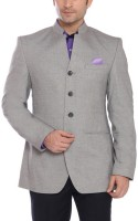 Park Avenue Solid Mandarin Formal Men's Blazer(Grey)