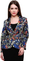 Pannkh Printed Single Breasted Casual Womens Blazer(Blue)