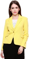 Pannkh Self Design Single Breasted Casual Womens Blazer(Yellow)