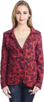 Trend Arrest Floral Print Single Breasted Casual Women's Blazer(Red)