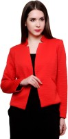 Pannkh Self Design Single Breasted Casual Womens Blazer(Red)