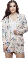 Living Doll Floral Print Single Breasted Casual Womens Blazer(Multicolor)