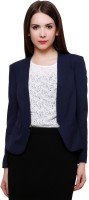 Pannkh Solid Single Breasted Casual Womens Blazer(Blue)