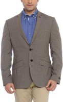 Raymond Printed Single Breasted Formal Mens Blazer(Brown)