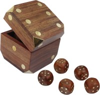 RoyaltyLane Indian Handcrafted Wooden Game Dice Box Set Storage Box Brass Inlay Art Dia Board Game