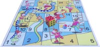 Atpata Funky 5x5 Ft Mat Snakes& Ladders (Kids / Dolls Theme) & Dice 5inch Party & Fun Games Board Game