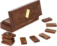 RoyaltyLane Handmade Wooden Domino Tile Game in Storage Box - Complete Game Set Board Game