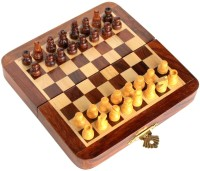 Craftgasmic Collectible Folding Wooden Pocket Travel Chess Game Board Set with Magnetic Crafted Pieces (5 X 5) Strategy & War Games Board Game