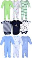Gee & Bee Baby Boys & Baby Girls Green, Black, Blue Bodysuit