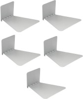 View Solid Set Of Five Invisible Room Decorative Bookcase Holder Hidden Rack Floating Creative Decor Wall Mount Metal Open Book Shelf(Finish Color - Silver) Price Online(Solid)
