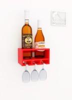Home Sparkle Wood Bottle Rack(Red, 2 Bottles)