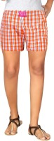 London Bee Orange Color Checkered Womens Boxer(Pack of 1)