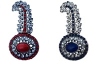 FURE Combo of Oval Bead Kilangi Brooch(Red, Blue)