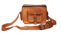 pranjals house vintage handmade leather  Camera Bag(Brown)