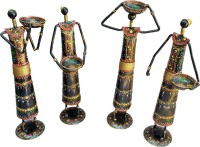 Sancheti Art Pair Of 12 Inches Tall Masai Figurines Cast Iron 4 - Cup Tealight Holder Set(Black, Gold, Multicolor, Pack of 4)