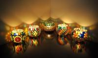 Lal Haveli Home Decoration Diwali Light Tealight Stand 5 Glass Candle Holder Set(Multicolor, Pack of 5)