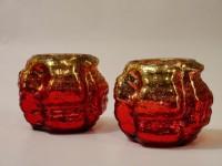 Foyer Glass Tealight Holder(Red, Pack of 2)